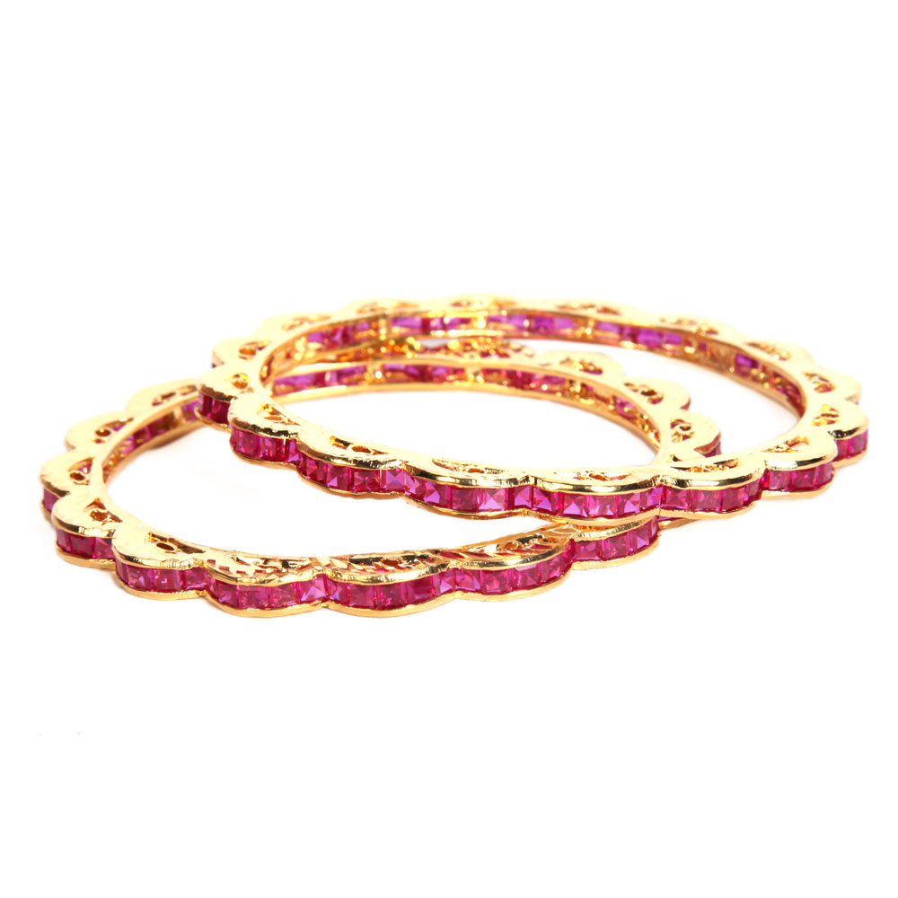 2 tiered gold plated bangles