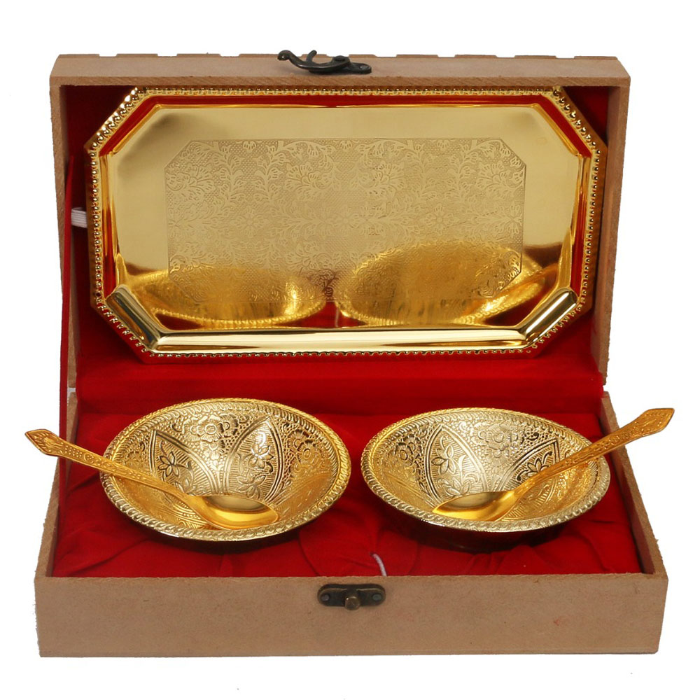 24 Ct Gold Plated Dual Bowl With Tray