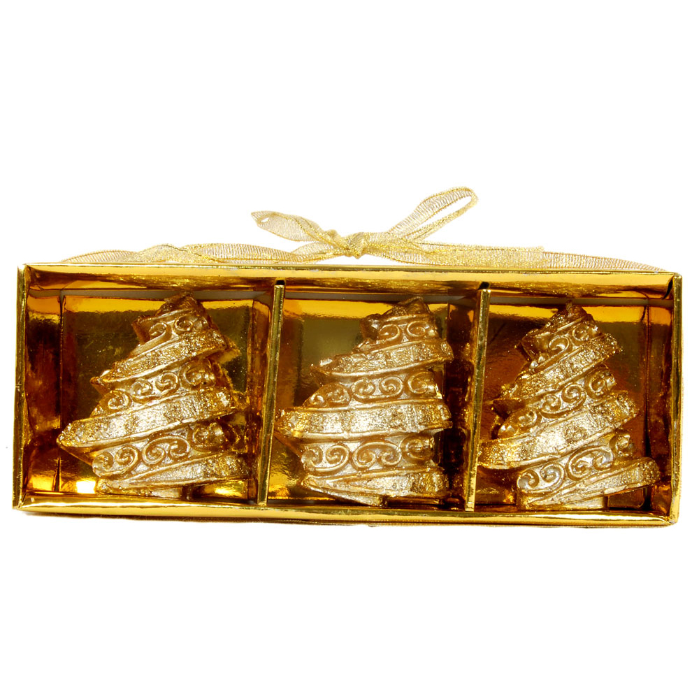 3 piece golden decorative candles