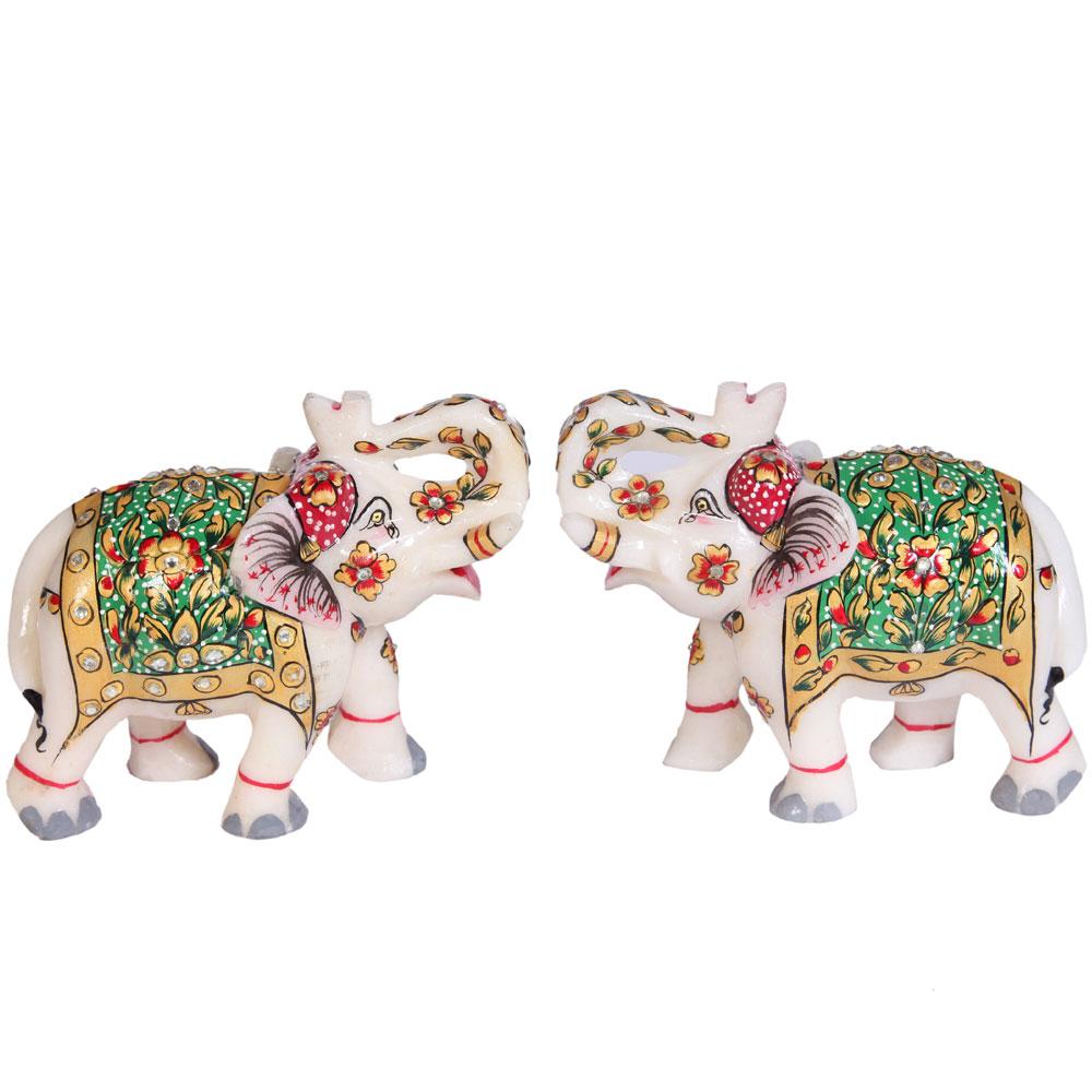 Marble Meenakari Crafted Elephant Pair Showpiece Online