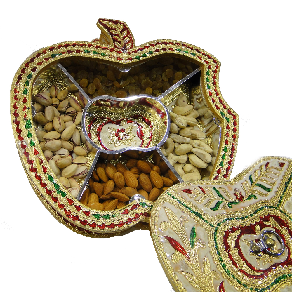 Apple Shape Dry Fruit Gift Box Crafted Wooden & Meenakari