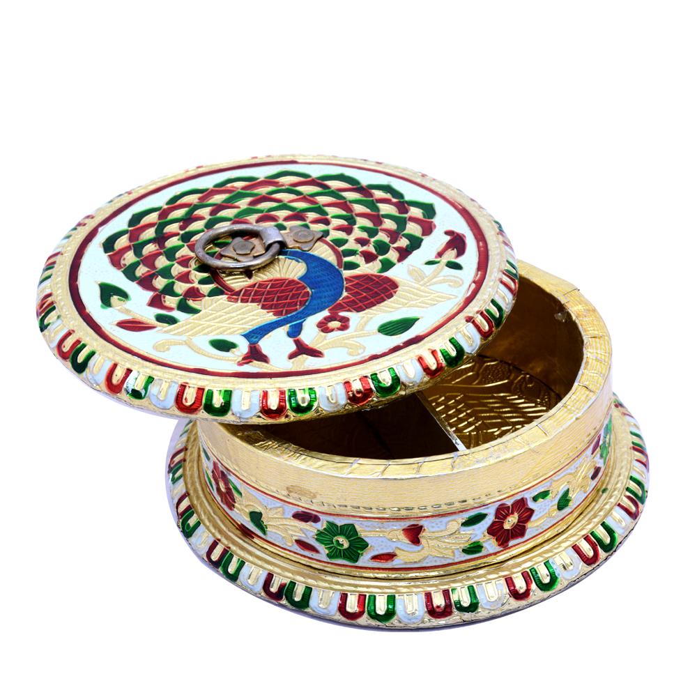Beautifully Metal Meenakari Crafted Dry Fruits Box Online