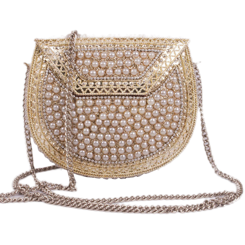 Attractive Metal & Pearl Clutch Bag for Party Lovers