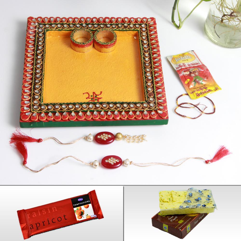 Buy rakhi gifts for brother wooden kundan pooja thali, rakhi, lumba, sweets and chocolates