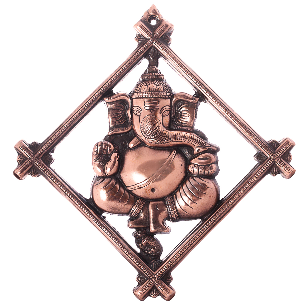 Lord Ganesha rhomboid metal wall hanging