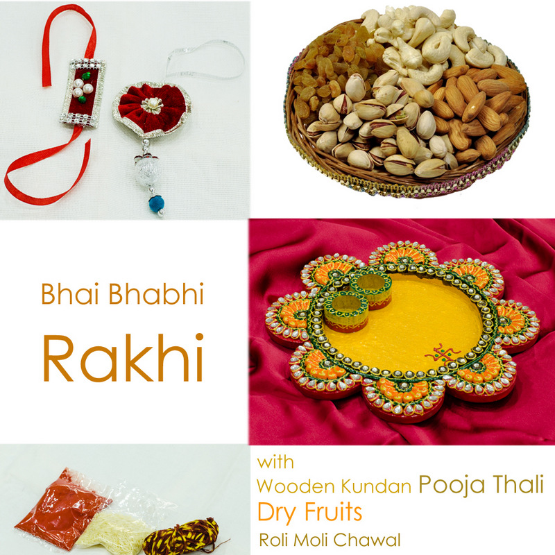 Blissful flower shaped thali with Pair rakhi & dry fruits