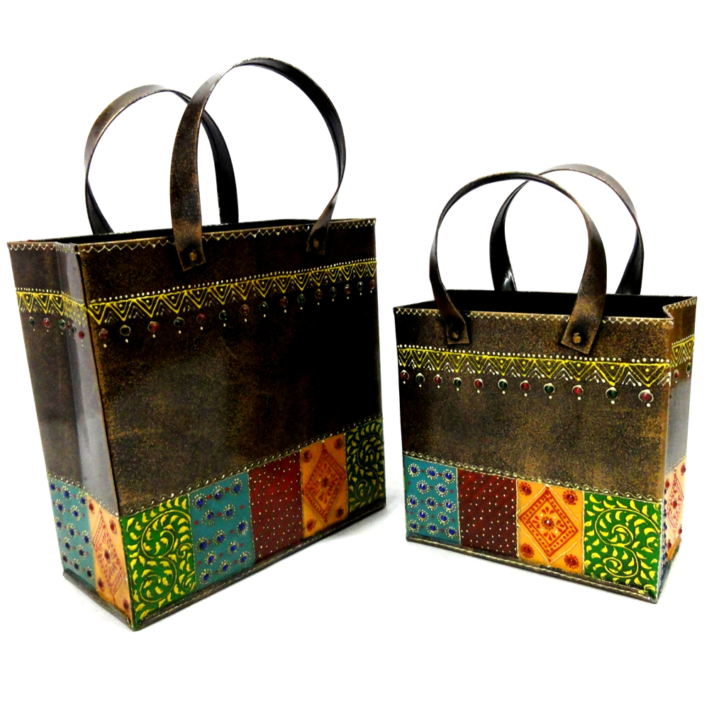 Traditional Brass Handcrafted 2 Bags With Handle Online