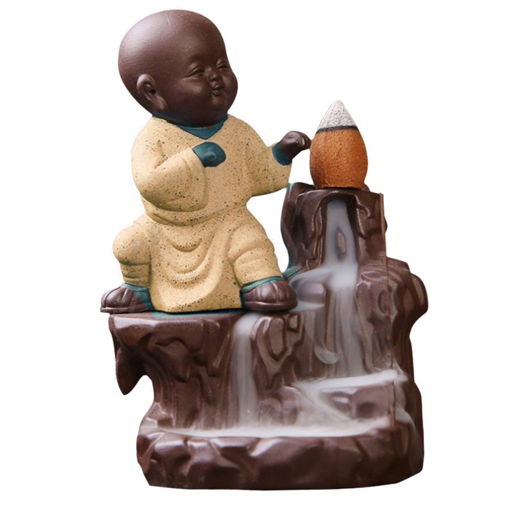 Buddha Monk Smoke Backflow Incense Made of Poly Resin