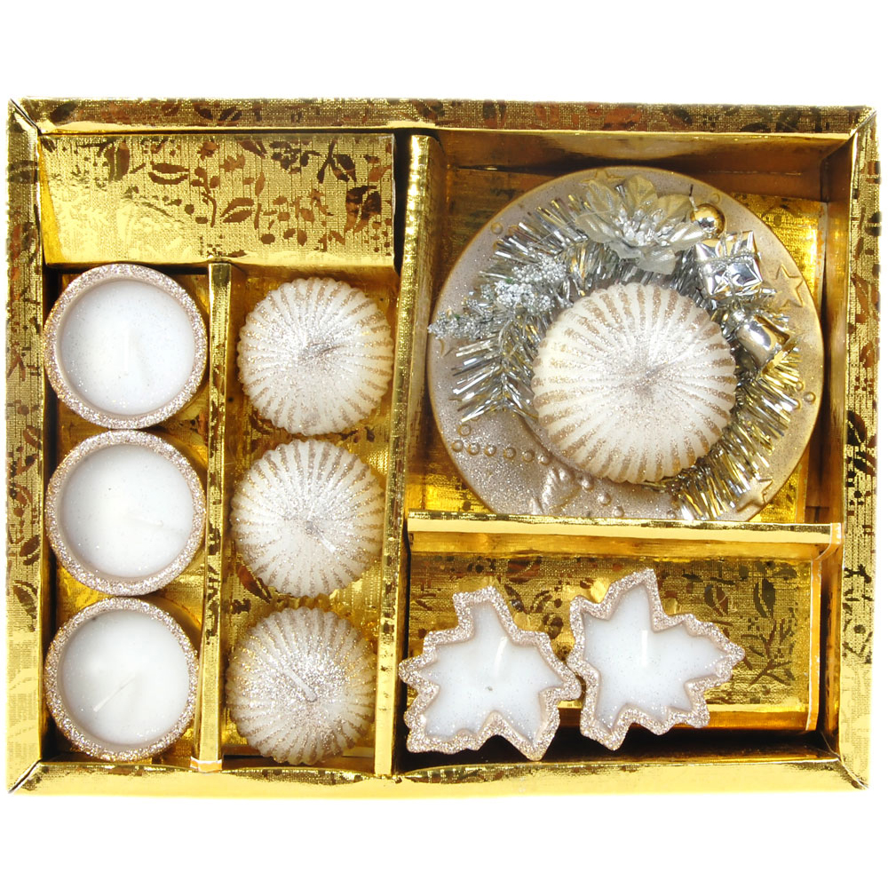 Candle gift hamper containing 6 T Lite, 1 laddu shaped and 2 flower shaped candles.