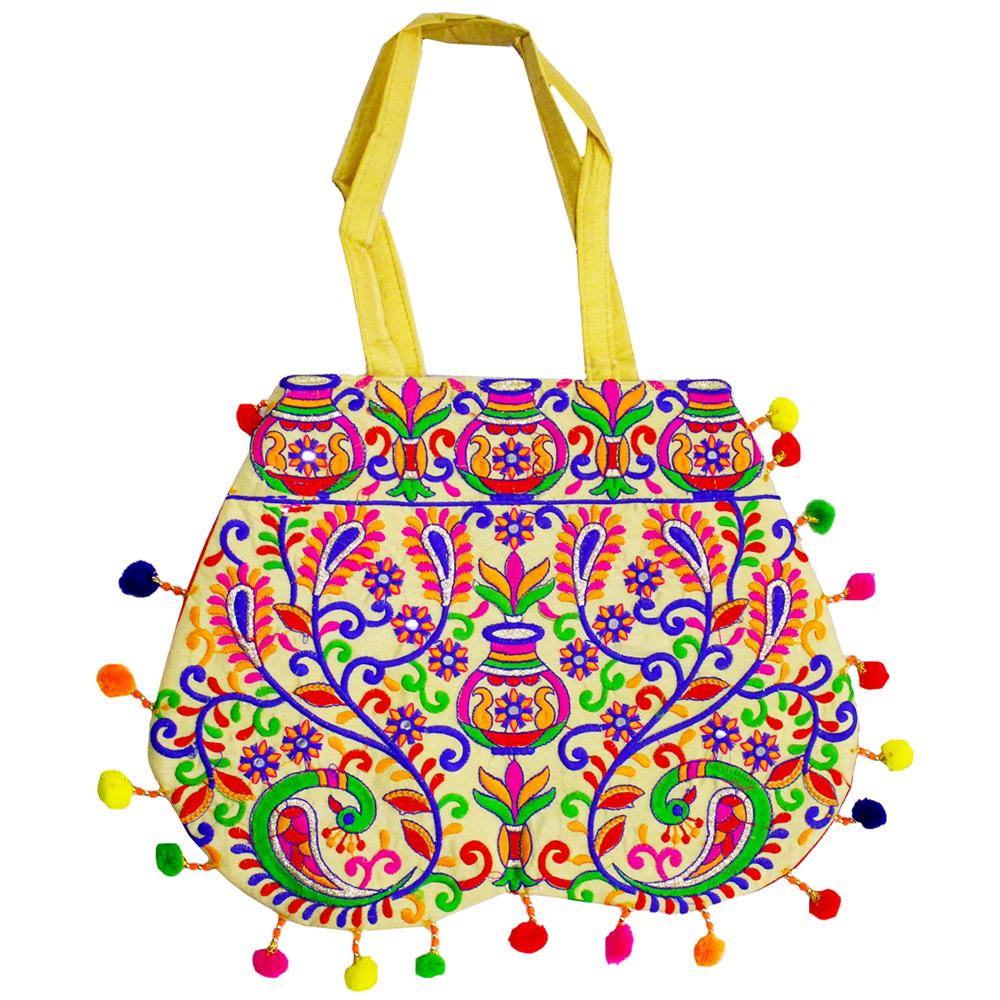 Casual Multicolour Rajasthani Banjara Crafted Bag With Handle