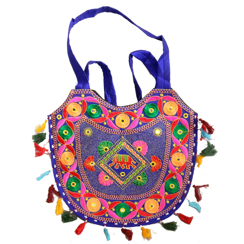 Cham Blue Multi-colour Handcrafted Semi-circular Bag with Small Handle