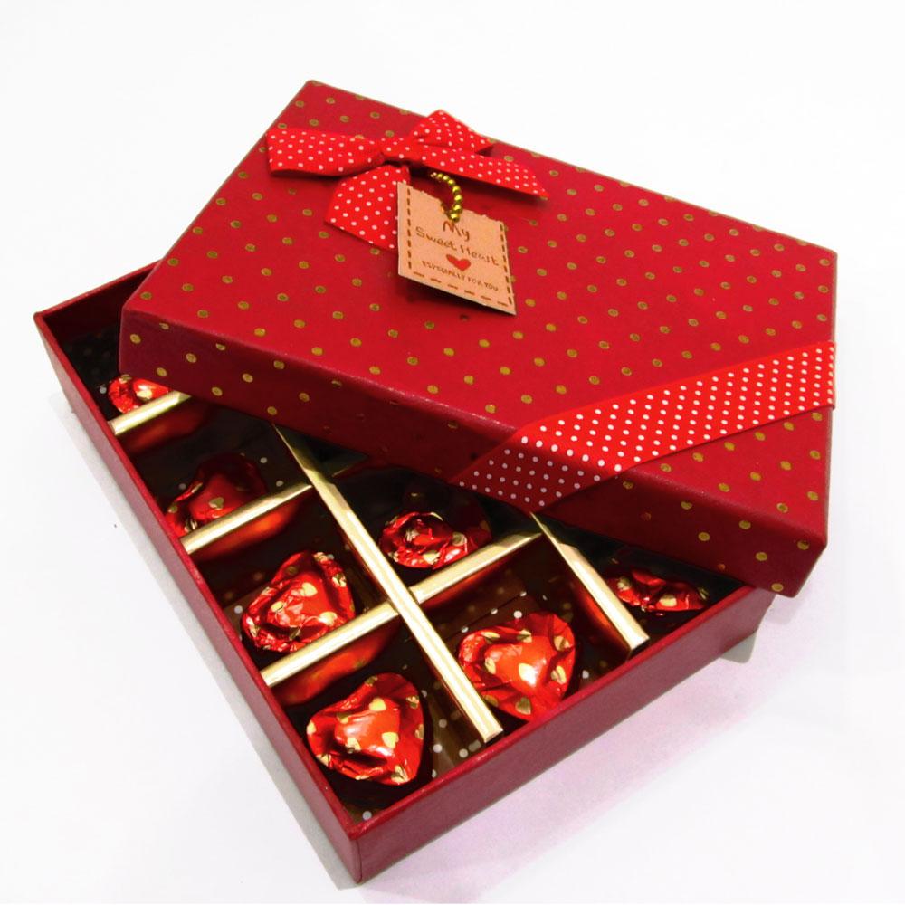 Chocolates in cavity red box