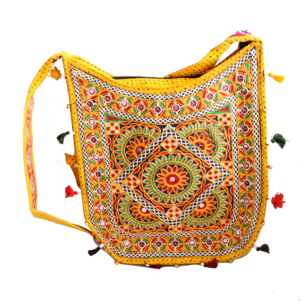 Colourful Ethnic Design Long Handle Bag in Yellow Colour