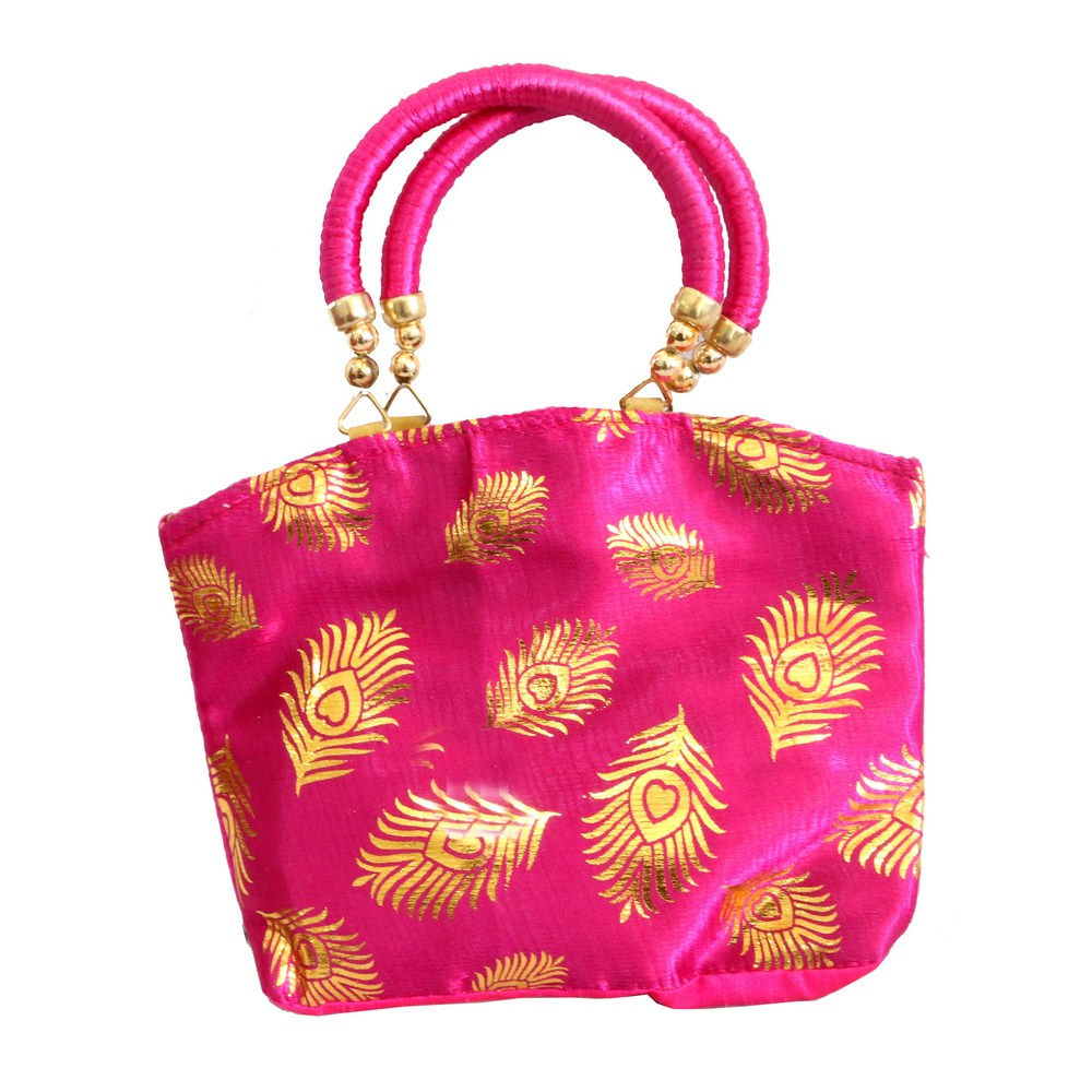 Cute Pink Banarasi Fabric Clutch Bag With Round Pair of Handle