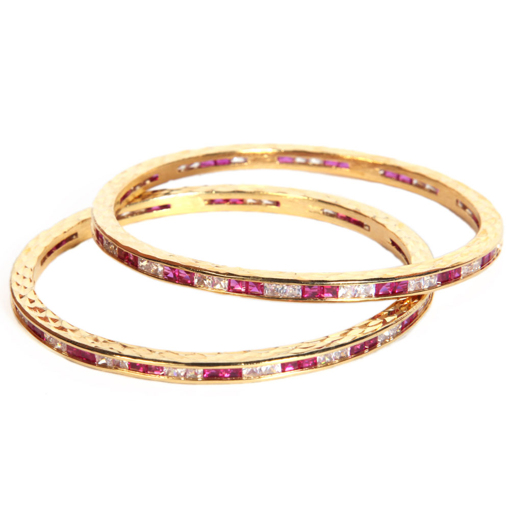 Dazzling ad stone studded bangles