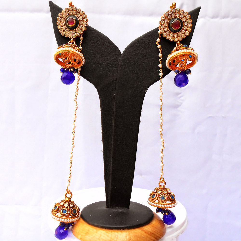 Designer blue dual jhumki earrings