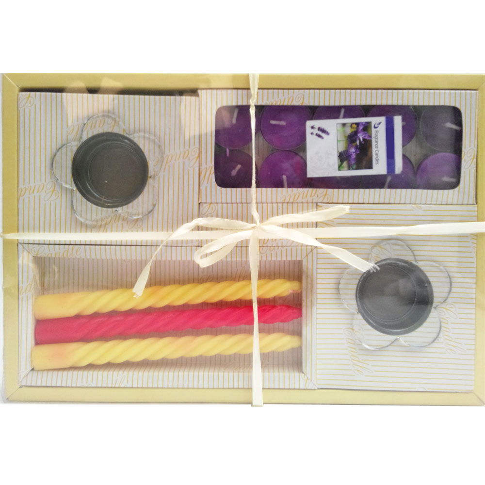 Designer candle hamper includes 2 glass candle holders, t-lite candles & colored wax candle sticks