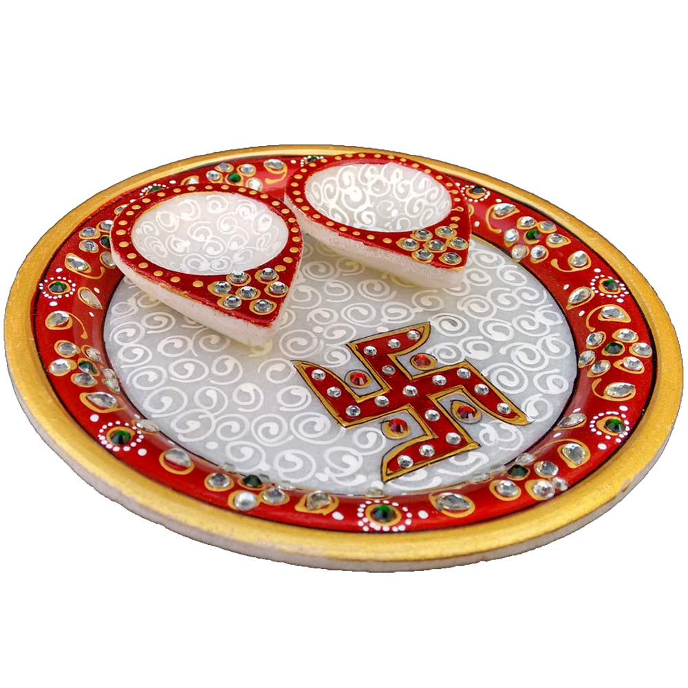 Marble Meenakari Double Diya Pooja Thali Online For Ladies