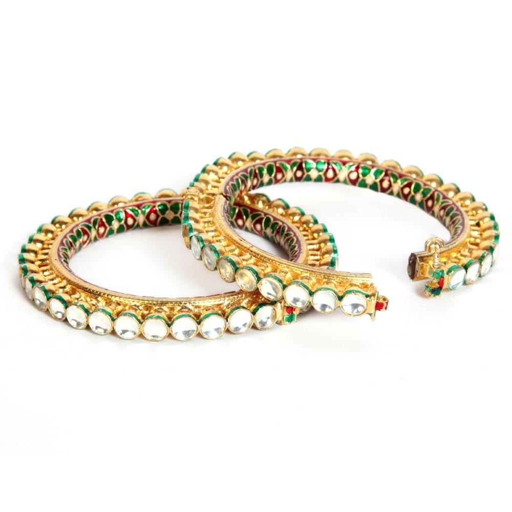Double kundan studded bangles