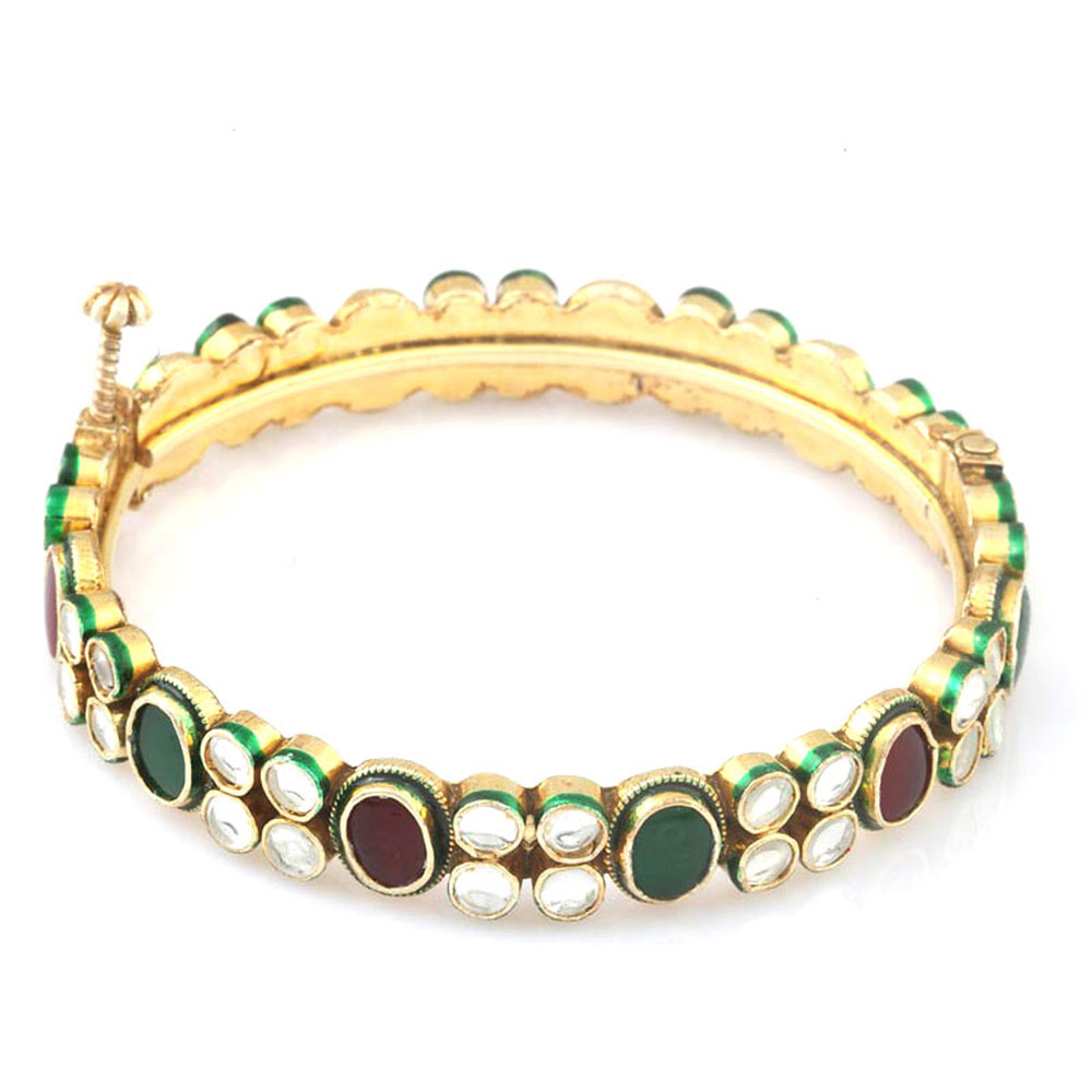 Double lined kundan bangle