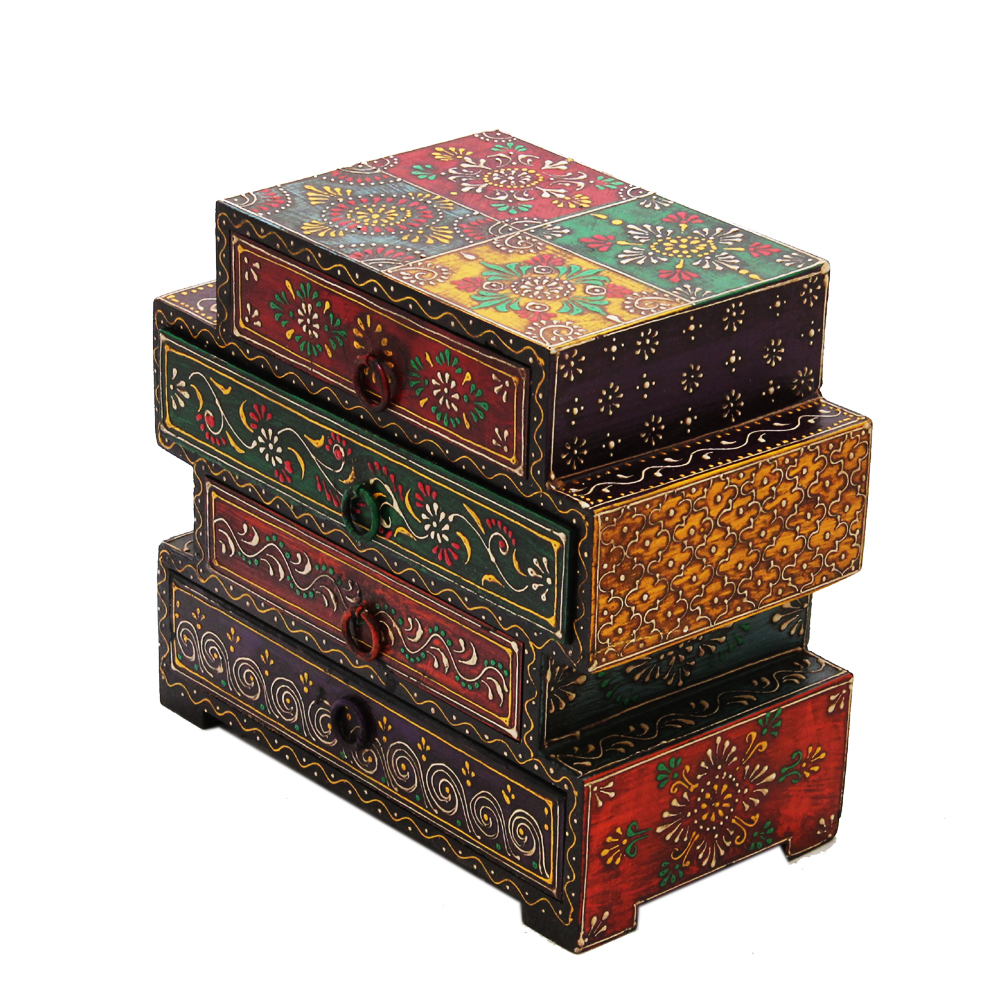 Wooden Embossed Multicolor Four Drawers Box  - Wooden Embossed Multicolor Four Drawers Box handicraft item