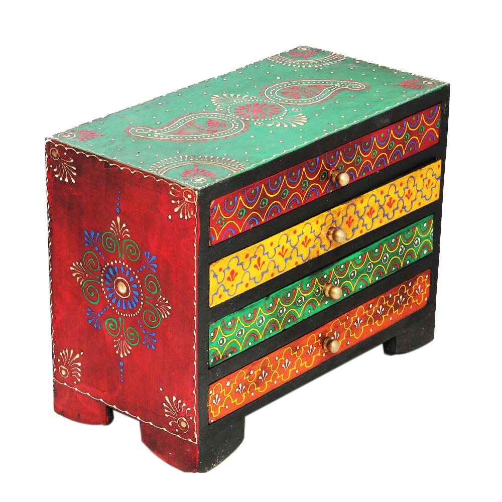 Horizontal Embossed Multicolor Wooden Box in Multicolor  - Horizontal Embossed Multicolor Wooden Box in Multicolor handicraft item