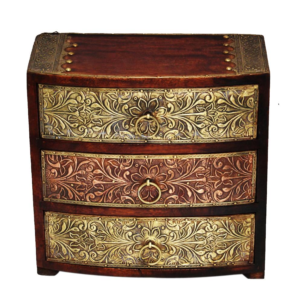 Wooden Three Drawer Box with Brass Work  - Wooden Three Drawer Box with Brass Work return gift