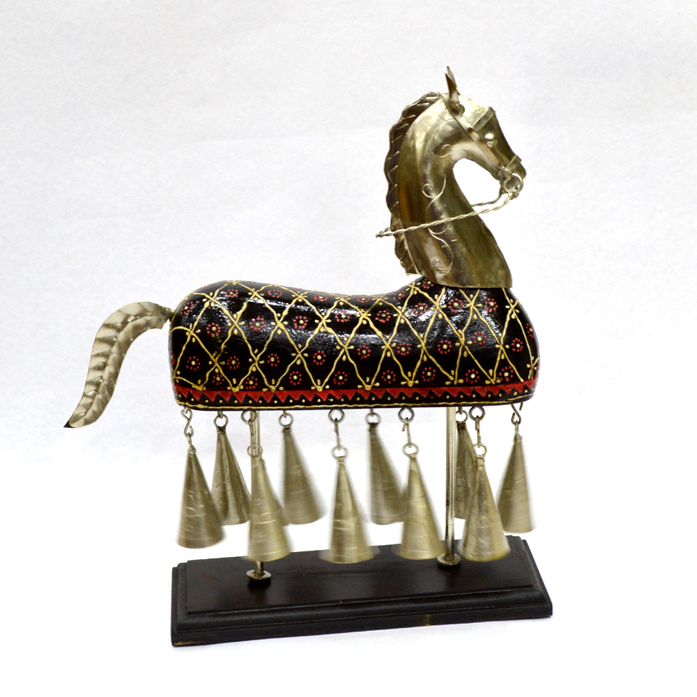 Metal Hanging Bell Horse with Embossed Work - Metal Hanging Bell Horse with Embossed Workhandicraft item
