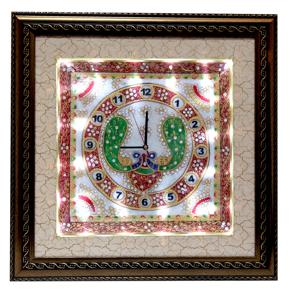 Wooden Fame Marble Clock with Peacock Painting and LED Lighting  - Wooden Fame Marble Clock with Peacock Painting and LED Lighting return gifts