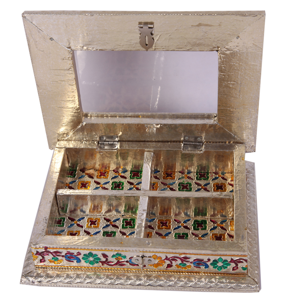 Wooden Meenakari Work Dryfruit Box with Metal Sheet and Four Partitions  - Wooden Meenakari Work Dryfruit Box with Metal Sheet and Four Partitions Handicraft Items