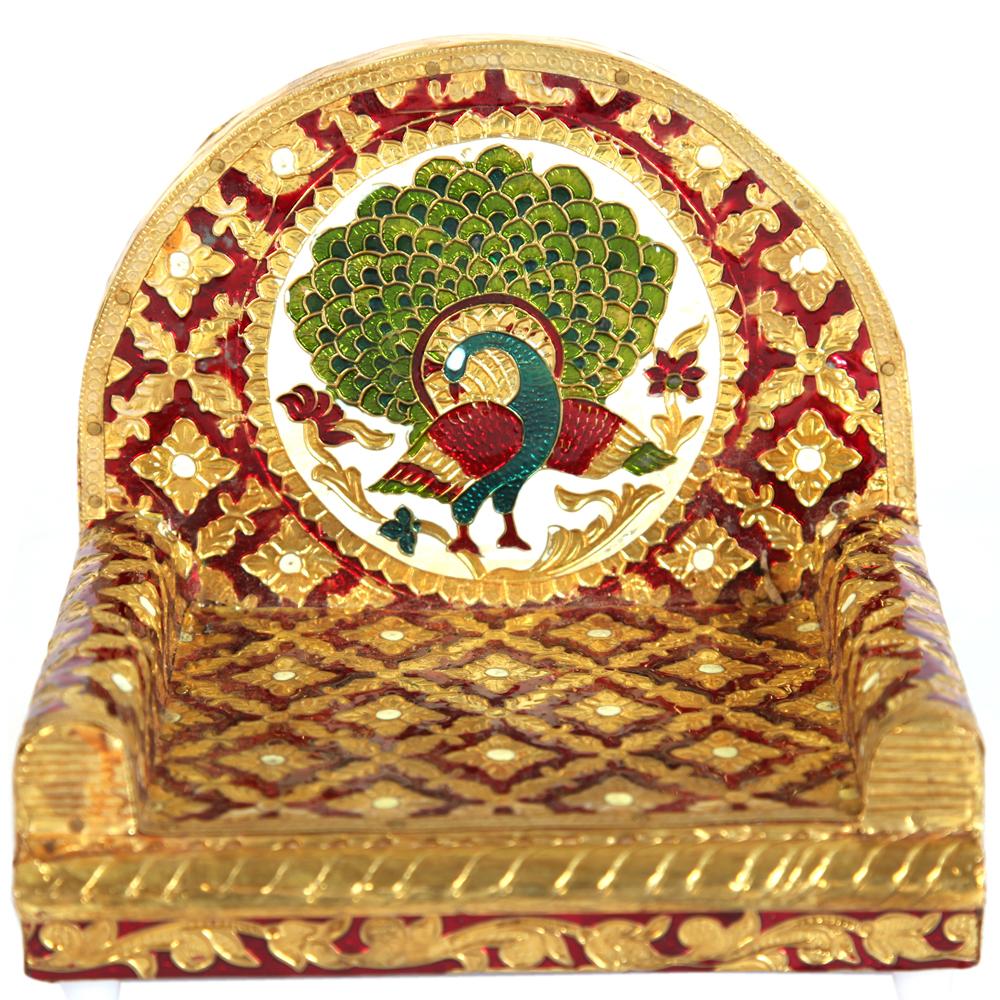Metal Sheet on Wooden Singhasan with Peacock Design Meenakari Work  - Metal Sheet on Wooden Singhasan with Peacock Design Meenakari Work return gifts