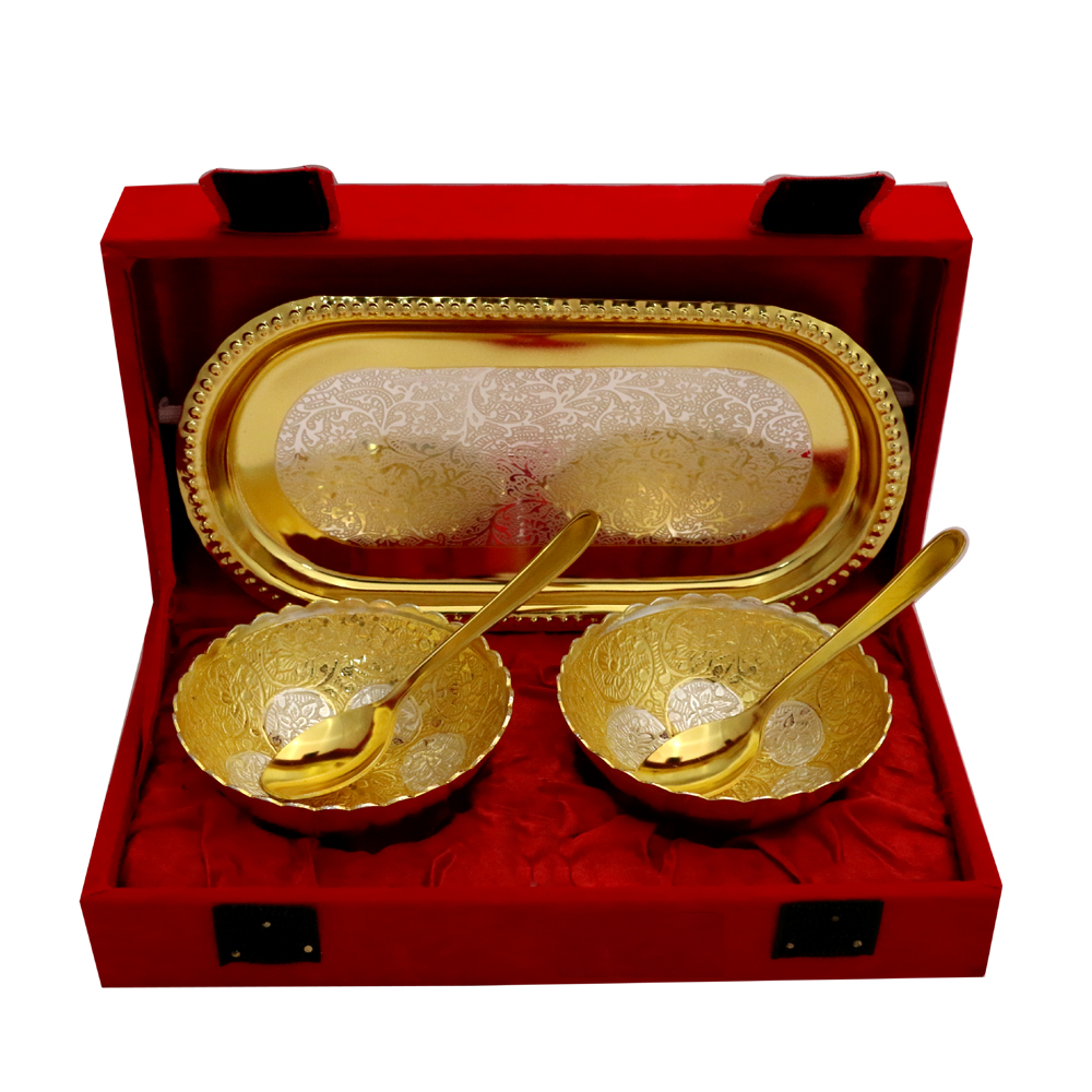 German Silver 2 Tone Round Bowl & Tray Set with 2 Spoons  - Return gifts as double Tone Round Shape two Bowl & Trey with two Spoons