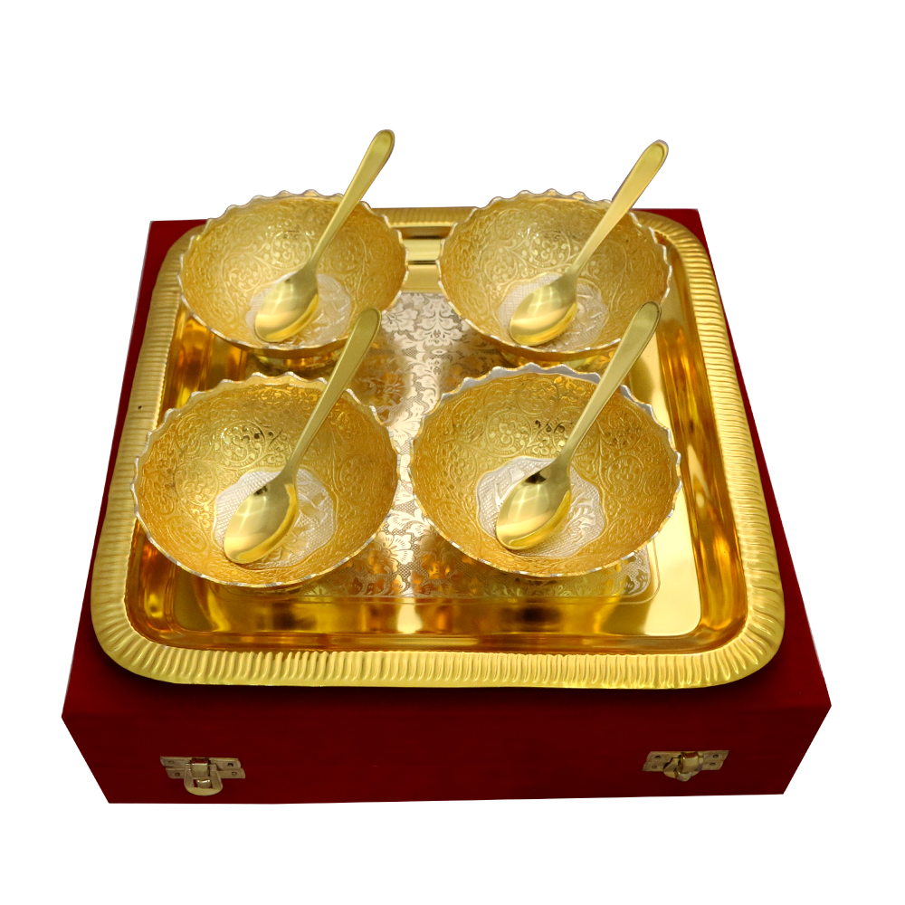 German Silver Two Tone 4 Round Bowls & Tray Set with 4 Spoons  - Return gifts as German Silver Two Tone 4 Round Bowls & Tray Set with 4 Spoons