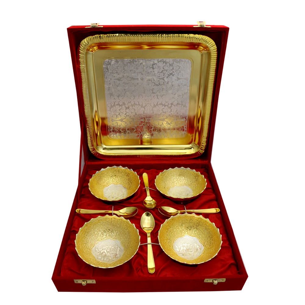 German Silver Two Tone 4 Round Bowls & Tray Set with 4 Spoons  - Wedding return gifts as German Silver Two Tone 4 Round Bowls & Tray Set with 4 Spoons