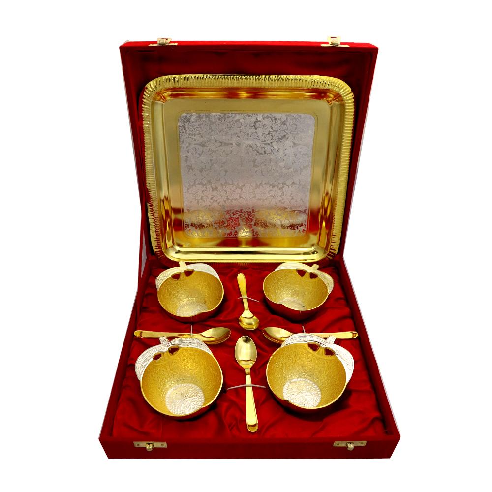 German Silver 2 Tone 4 Apple Shaped Bowls & Tray Set with 4 Spoons  - return gift as German Silver 2 Tone 4 Apple Shaped Bowls & Tray Set with 4 Spoons