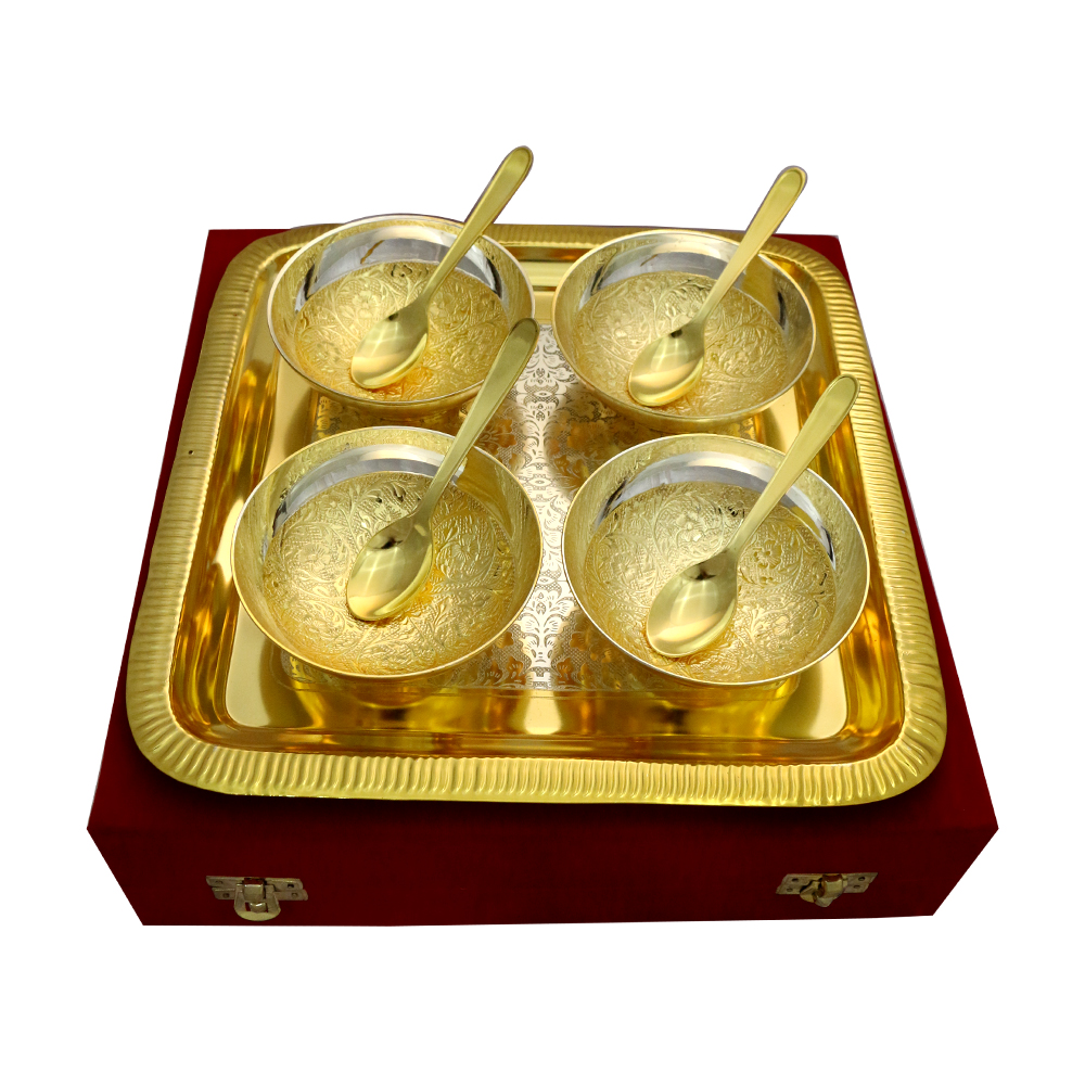 Set of 4 Two Tone Round Bowls & Spoons with Tray in German Silver  - return gifts as Set of 4 Two Tone Round Bowls & Spoons with Tray in German Silver