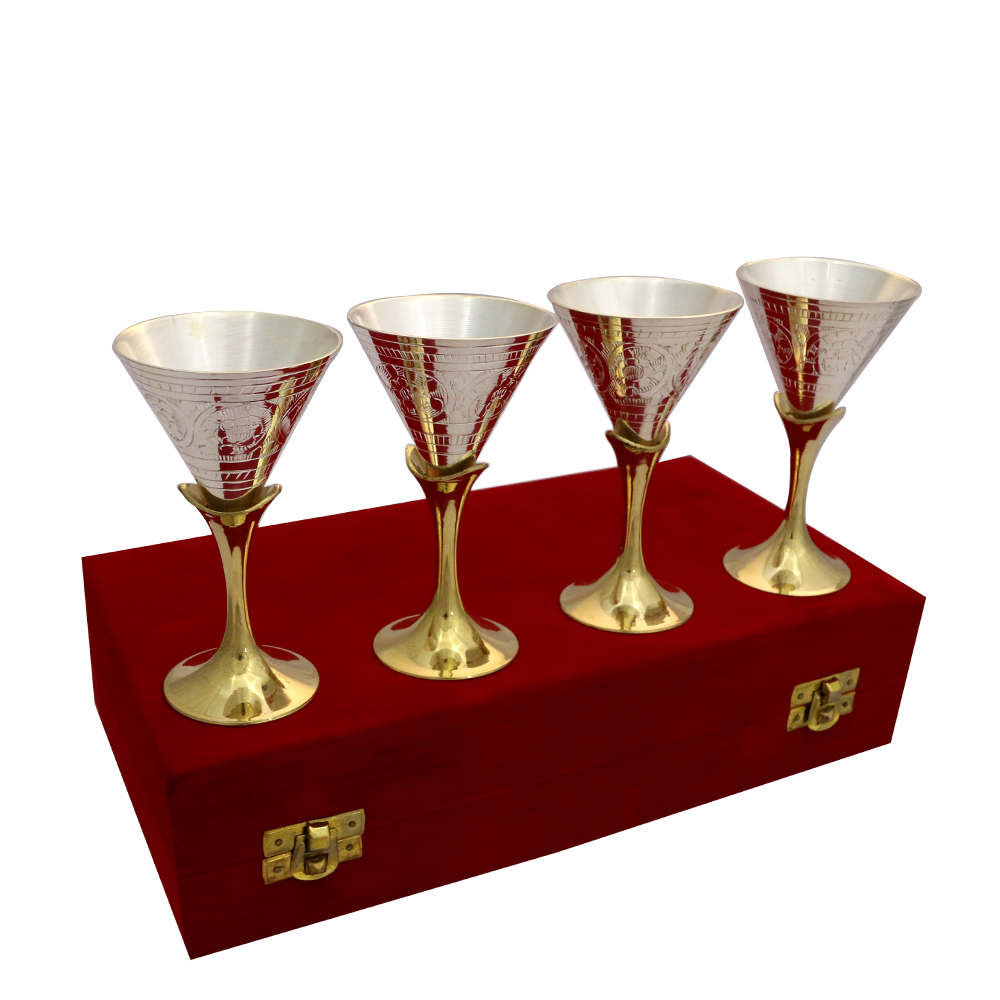 Set of Four 2 Tone Wine Glasses in German Silver  - wedding return gifts as Set of Four 2 Tone Wine Glasses in German Silver