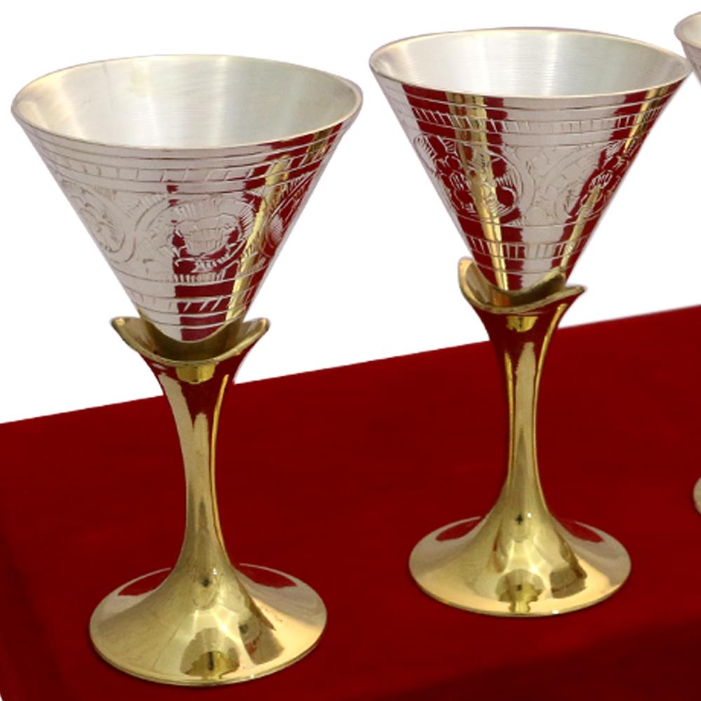 Set of Four 2 Tone Wine Glasses in German Silver  - corporate gifts as Set of Four 2 Tone Wine Glasses in German Silver