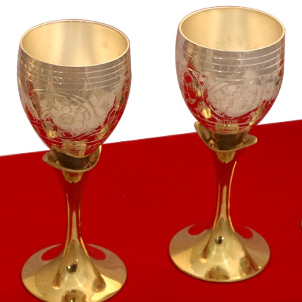 Set of 4 German Silver Wine Glasses in Dual Tones  - corporate gifts as Set of 4 German Silver Wine Glasses in Dual Tones