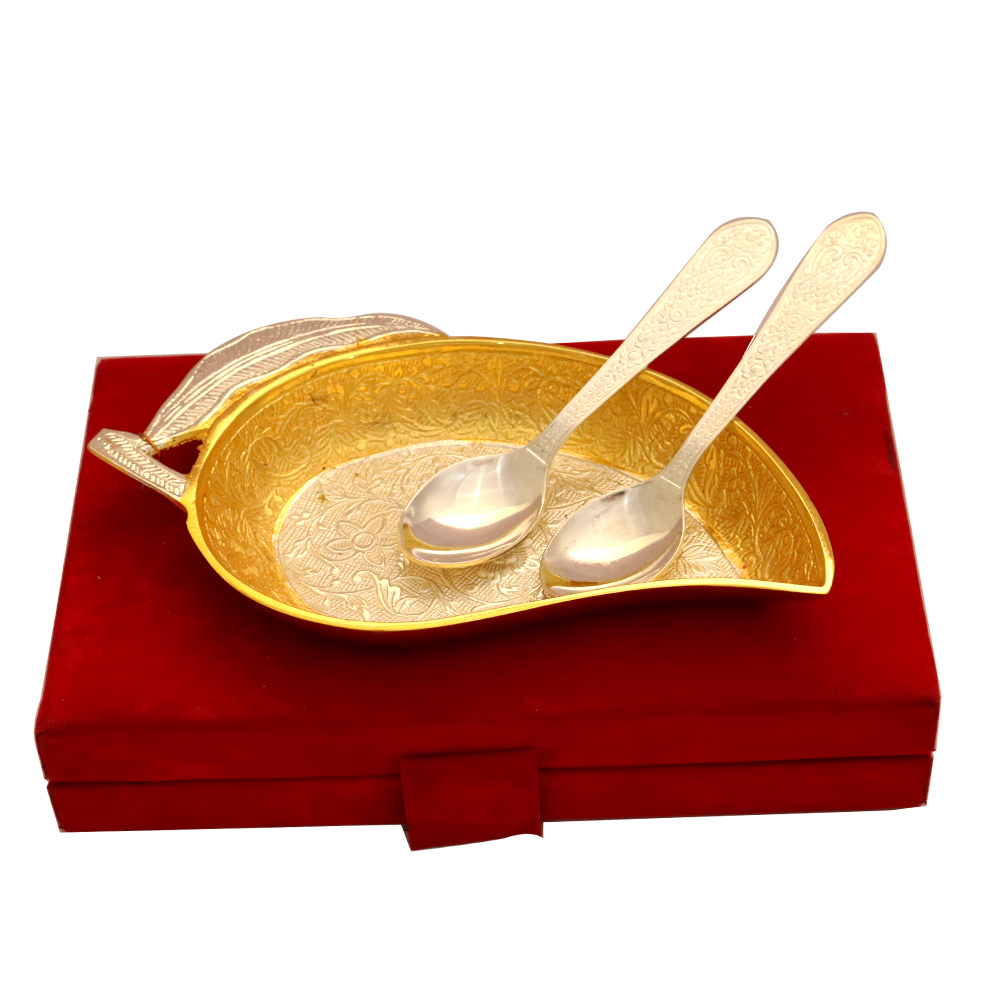 Set of Mango Shaped Serving Tray & 2 Spoons in German Silver  - return gifts as Set of Mango Shaped Serving Tray & 2 Spoons in German Silver