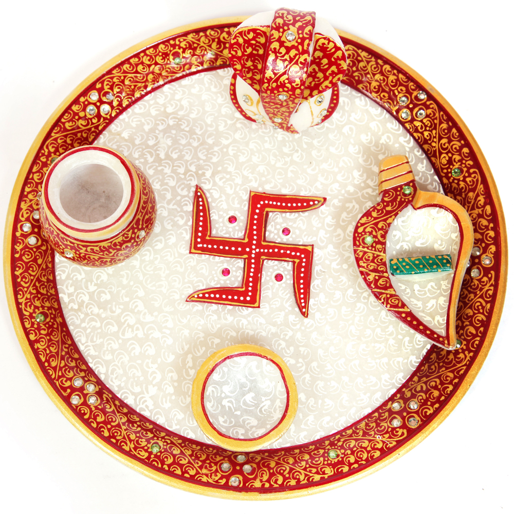 Traditional Pooja Plate - traditional-marble-pooja-thali-for-worship-bh-0016
