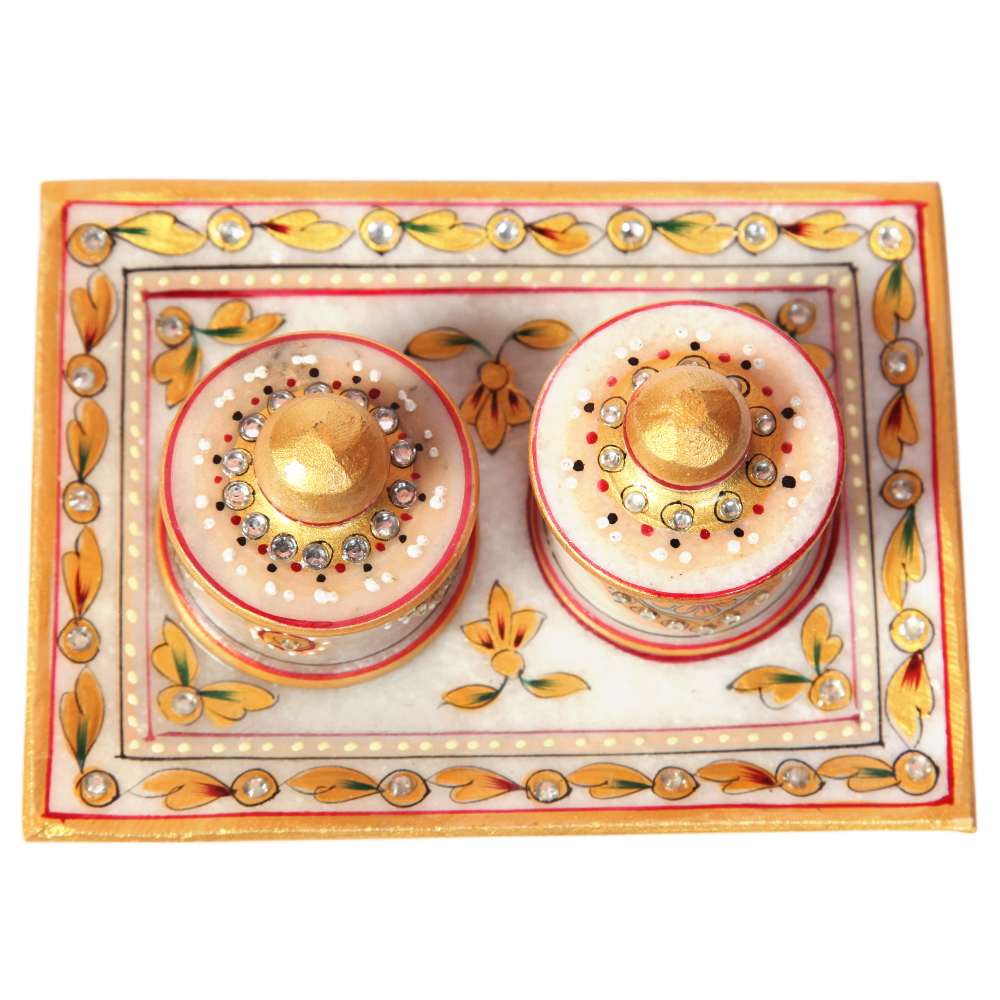 Two dibbi sets with a plate - Marble two bowls and serving tray with meenakari beads work