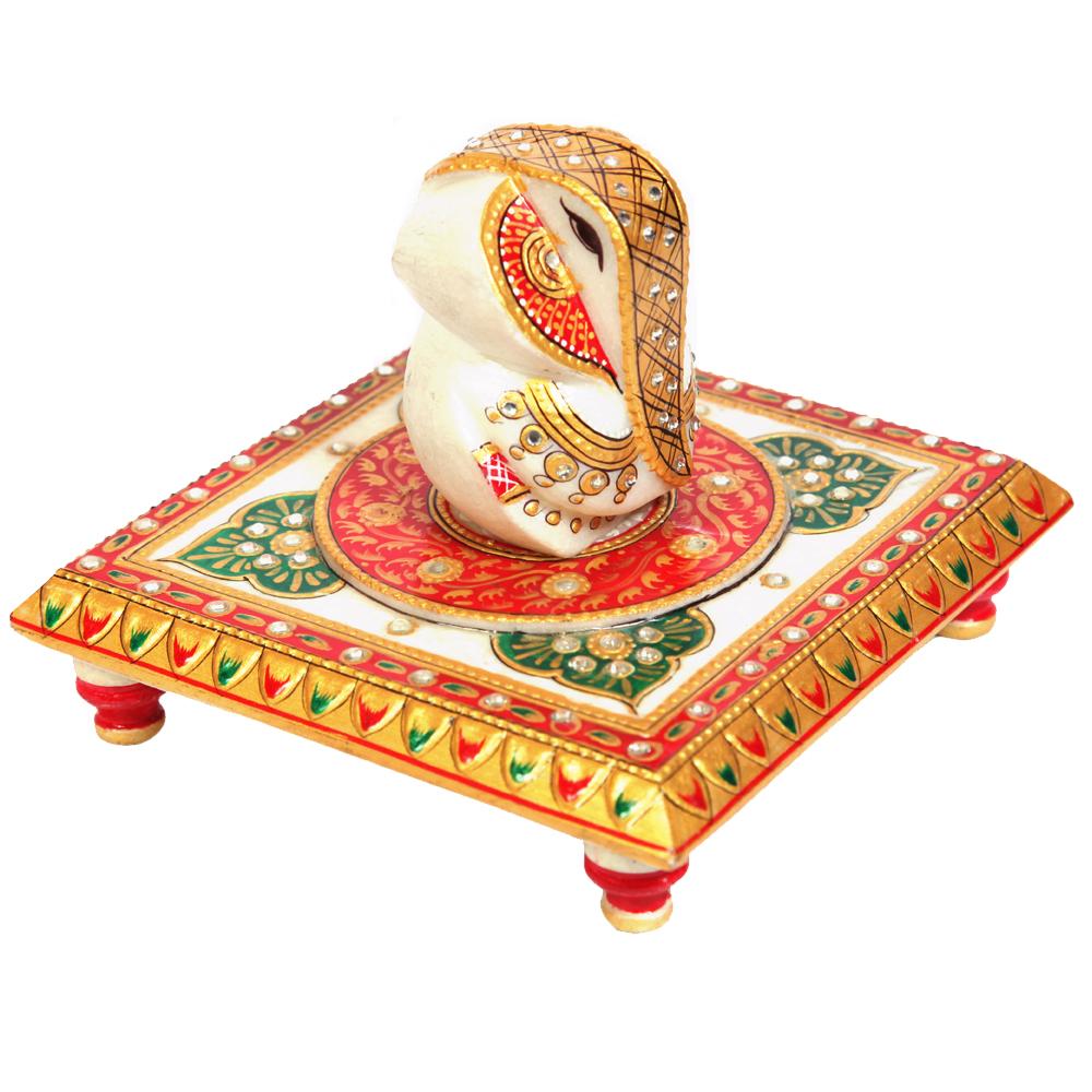 Ganesh ji with crafted chowki - Marble Chowki with Gamesh ji with gold work