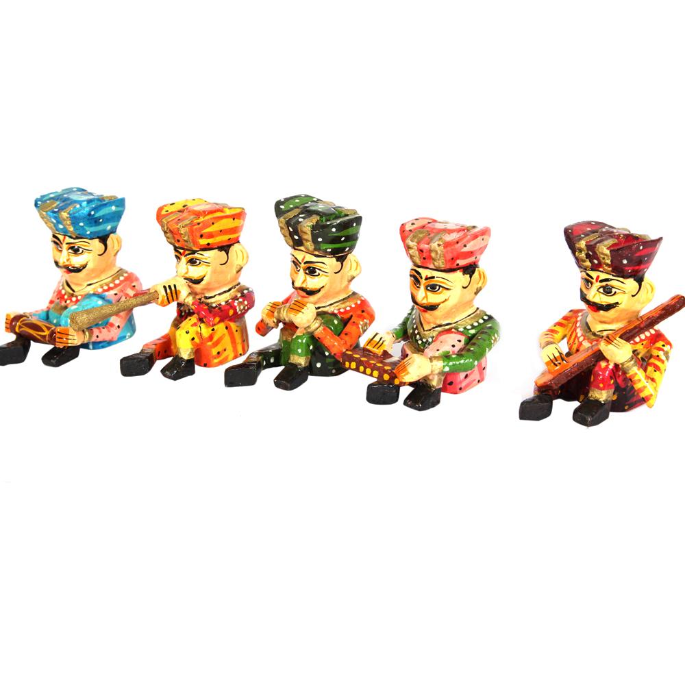 5 Pieces Wooden Musician Set  - handicraft wooden items musician set for home decor