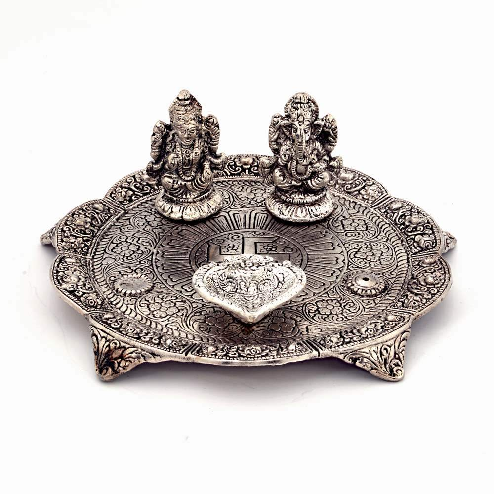 Oxidised ganesh lakshmi pooja thali along with diyas - Ganesh Laxmi Pooja Thali with Diya