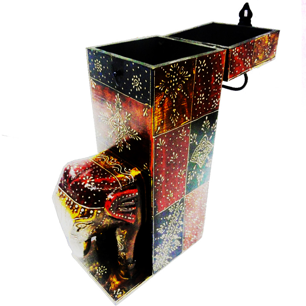 Wooden elephant figure bottle holder - Indian handicrafts wooden bottle holder for luxury gifts