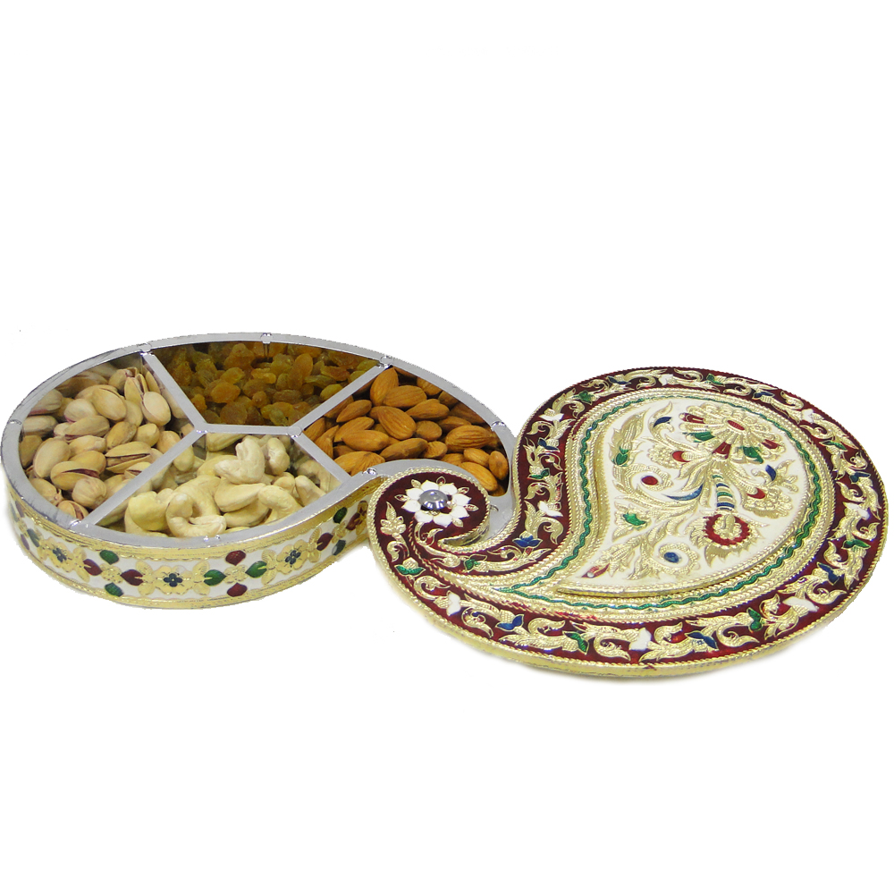 Excuisitely shaped gift box with wooden base and meenakri brass lid  - dryfruit box with dryfruits