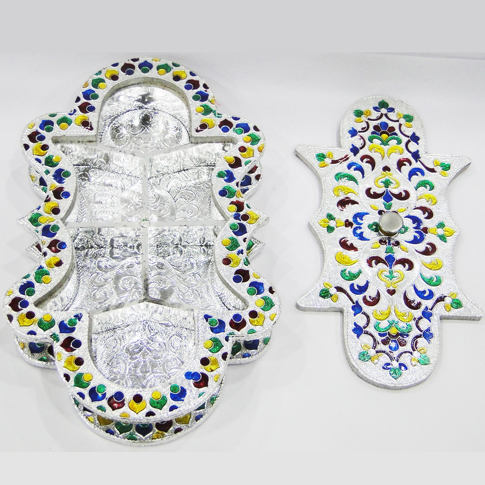 Excuisitely shaped gift box with wooden base with meena work - meena dryfruit box