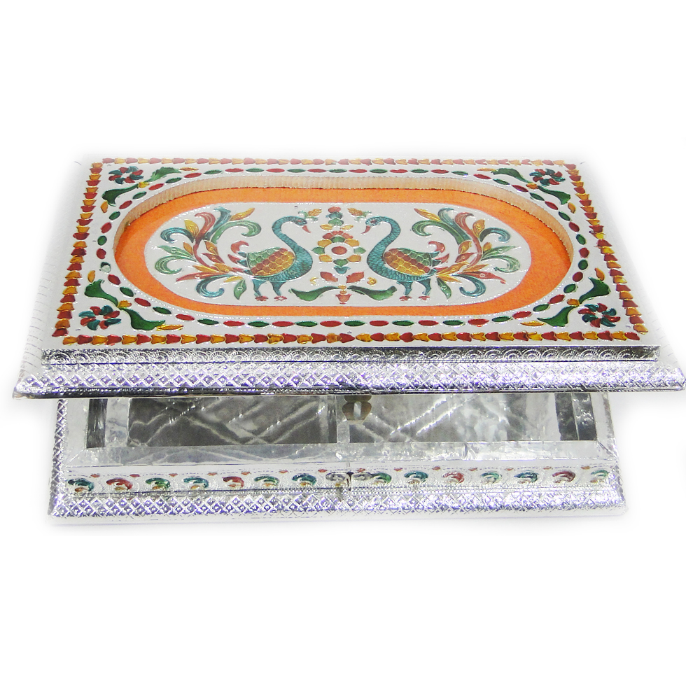 Square shaped dryfruit gift box with meena work - square shaped dryfruit box with meena work