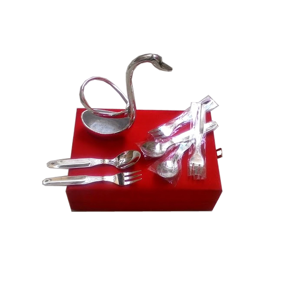 Attractive swan shaped spoon set - German Silver swan shaped spoon holder best for return gifts item-bh-0262